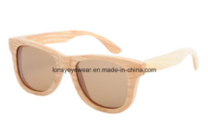 White Oak Wood Sunglasses with Tac Dark Brown Polarized Lens (GA207-2)