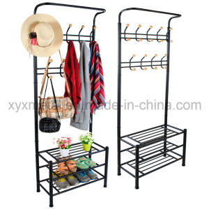 Metal Hat and Coat Clothes Shoes Hall Steel Pipe Stands Rack Hangers Shelf Stand pictures & photos