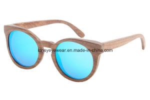 Walnut Wood Sunglasses with Mirror Blue Tac Polarized Lens (GA206-2)