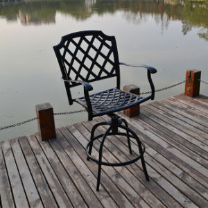 Design Popular Garden Dining Cast Aluminum Bistro Set with Rotatable Chair pictures & photos