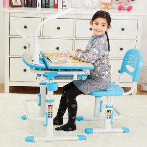 Kids Adjustable Workstation with Storage Compartment Blue Desk
