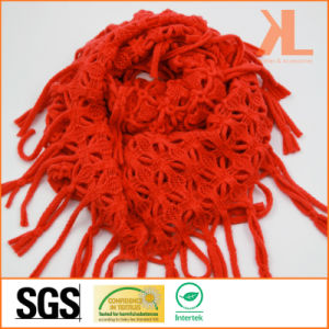 Acrylic Fashion Lady Orange Knitted Neck Scarf with Knotted Fringe pictures & photos