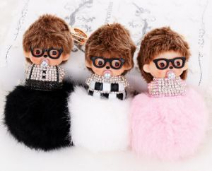 Big Colorful Decorative Fur POM Poms/ Rabbit Fur Ball Keychain pictures & photos