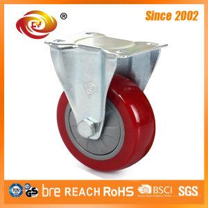 4 Inch Red PU Fixed Medium Duty Caster