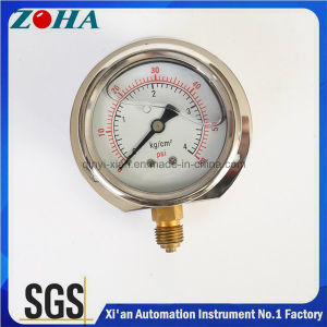 Shake Proof Oil Filled Pressure Gauge with Bottom Connection and Flange pictures & photos