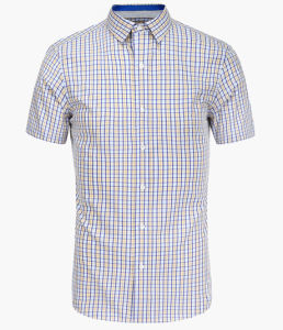 Mens Yarn Dyed Checks Short Sleeve Shirt pictures & photos