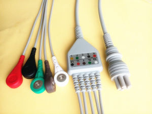 Colin Bp88s 6pin Aha Snap&Clip 5 ECG Cable pictures & photos