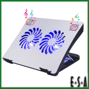 2015 Adjustable 2 Fans Laptop Cooling, Multifunctional Cooling Pad with Speakers, Laptop Cooling Pad with Power Supply G22A131 pictures & photos