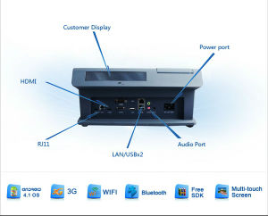 Jepower T508A (Q) Quad-Core Andriod POS Terminal with WiFi/Bt/RFID/NFC/IC and Ms Card Reader/Psam pictures & photos