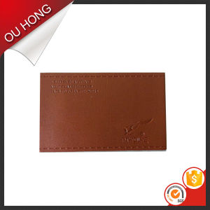 Fashion Popular Brown Debossed Jeans Leather Label Design