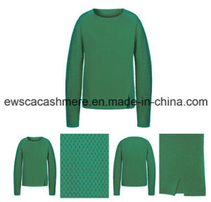 Women′s Weaved Pure Cashmere Knitted Sweater