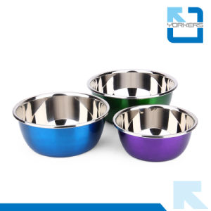 Multicolor Stainless Steel Salad Bowls for Kitchen Deep Mixing Bowls pictures & photos