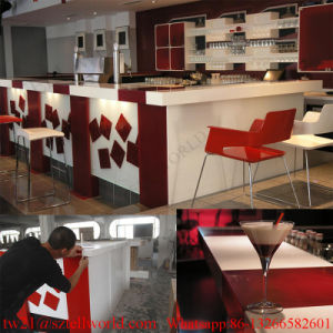 Prefab LED Coffee Shop Interior Furniture Bar Counter for Sale Modern coffee Bar Cabinet pictures & photos