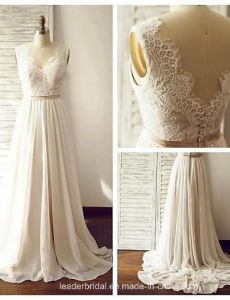 Beach Bridal Formal Gowns Chiffon Lace Real Wedding Dress Ld15263 pictures & photos