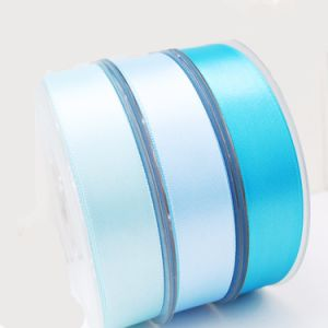 Discount Ribbon 1 Inch 25mm Sky Blue Woven 100% Polyester Silk Satin Celebrate It Ribbon pictures & photos