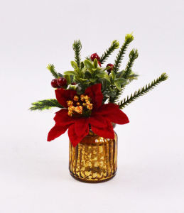 Xmas Flowers with Berry in Glass Vase for Holiday Decoration pictures & photos