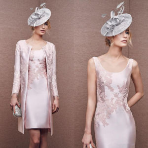 Elegant Duchess Satin Lace Applique Knee-Length Bride Mother Dress (Dream-100107) pictures & photos