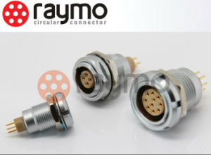 Raymo ECG Fixed Socket with Two Nuts and Straight Contact for Printed Circuit / 8 Pin Circular PCB Connector pictures & photos