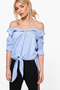 off Shoulder Stripe Blouse with Tie pictures & photos
