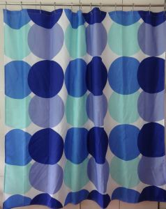 Blue Dots Eco-Friendly Water Resistent Polyester Fabric Shower Curtain pictures & photos