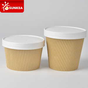 375ml 425ml Double Wall Ripple Kraft Paper Soup Cup pictures & photos