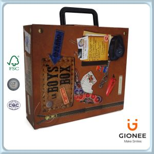 Elegant Paper Gift Box with Plastics Handle pictures & photos