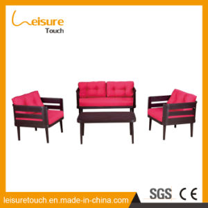 Outdoor Furniture Garden Swimming Pool Recreational Area Red Aluminum Rattan Corner Sofa pictures & photos