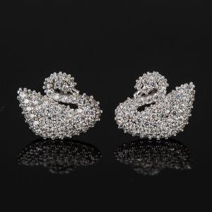 Fashion Zircon Crystal Swan Design Jewelry Stud Earrings in Rhodium Plated