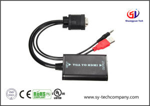 VGA to HDMI Cable with USB Power + 3.5mm Audio up to 1080P pictures & photos