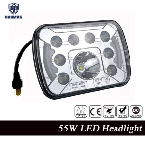 """7X6"" LED Headlights H4 55W Light with DRL for Jeep Wrangler Yj Xj GM Van Cherokee Ford pictures & photos"