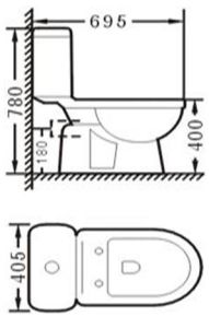 Water Saving Watermark and Wels Approval Bathroom Ceramic Washdown Two Piece Toilet (483) pictures & photos