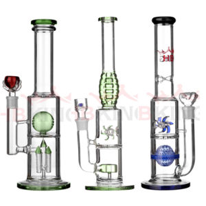 Hbking Wholesale Straight Tube Double Perc Glass Water Pipe Triple Perc Glass Smoking Pipe pictures & photos
