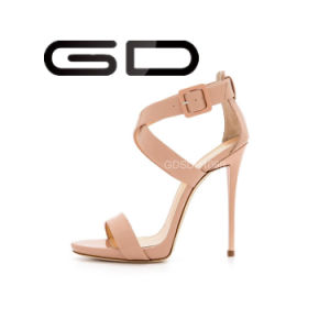 Beautiful High Heel Sandals Nude Color Shoes pictures & photos