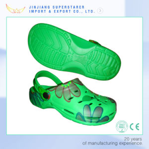 Cool Green Color Men Clog Sandals with Heat Transfer Printing pictures & photos