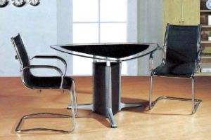 Silver Round Metal Leg Glass Conference Deskl/Table (HX-GL070) pictures & photos