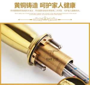 Single Handle Luxury Gold Brass Magic Lamp Basin Mixer (Zf-M27) pictures & photos
