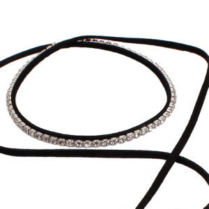 Fashion PU Leather Diamond Rhinestone Crystal Choker Necklace Jewelry pictures & photos
