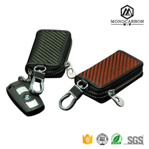Advantage Price Durable Carbon Fiber Genuine Leather Car Key Cllection Bag with Great Popularity pictures & photos