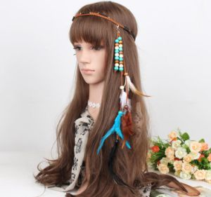 New Style Women Headwears Fashion Elegant Retro Peacock Feather Hair Bands Wool Hand-Woven Headband Free Shipping