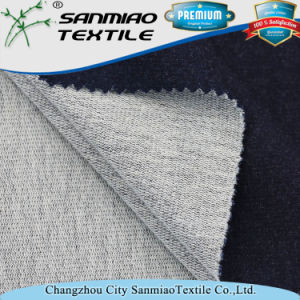 Cotton Spandex Indigo French Terry Knitted Denim Fabric for Clothes pictures & photos