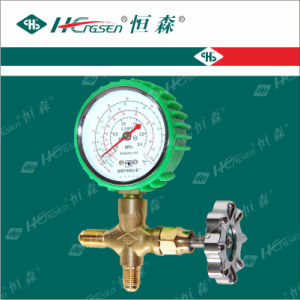 C T-488 a G F Brass Three Way Valve with Gauge with Green Plastic Handle with Shockproof Air Conditioner Parts Refrigeration Parts pictures & photos