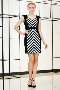 High Waist Bodycon Drop Shoulder Dress with Diagonal Symmetrical Stripe at Front and Back pictures & photos
