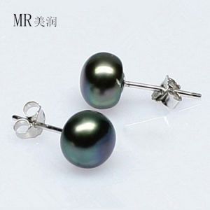 Black Natural Freshwater Pearl Earring Stud pictures & photos