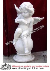 Hand Carved Marble Angel with Wings (SK-2495) pictures & photos