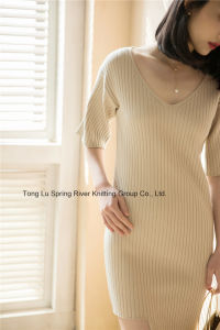 Rayon Polyester Irregular Dress Sweater Womens pictures & photos