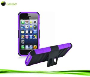 Advanced Armor Hybrid Kickstand Case for iPhone 5 (Black Purple)