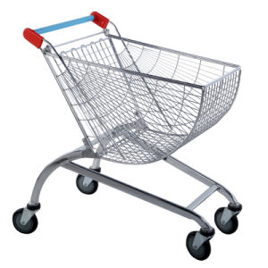 Chrome Steel Fashion Design Supermarket Wire Mesh Shopping Trolleys Car pictures & photos