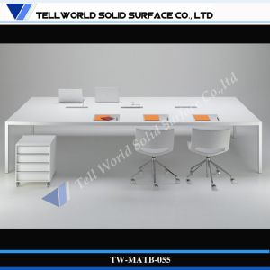 Office Worktop Design Computer Office Desk Acrylic Solid Surface Workstation pictures & photos