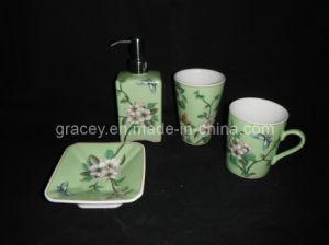 4PCS Decorated Ceramic Bathroom Set /Porcelain Bathroom Accessories