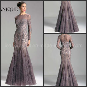 Full Sleeves Sheer Neck Purple Lace Janique Evening Dresses W308 pictures & photos